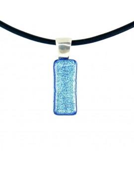 Collier Softy Bleu azur artisanal en verre dichroïque
