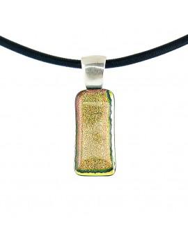 Collier Softy Saumon artisanal en verre dichroïque