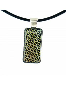 Collier Softy Petits pois Jaune artisanal en verre dichroïque