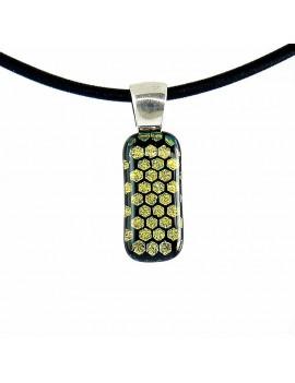 Collier Softy Jaune Abeille artisanal en verre dichroïque
