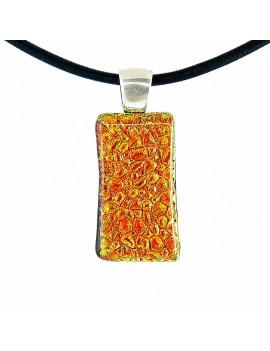 Collier Softy Volcanique orangé artisanal en verre dichroïque