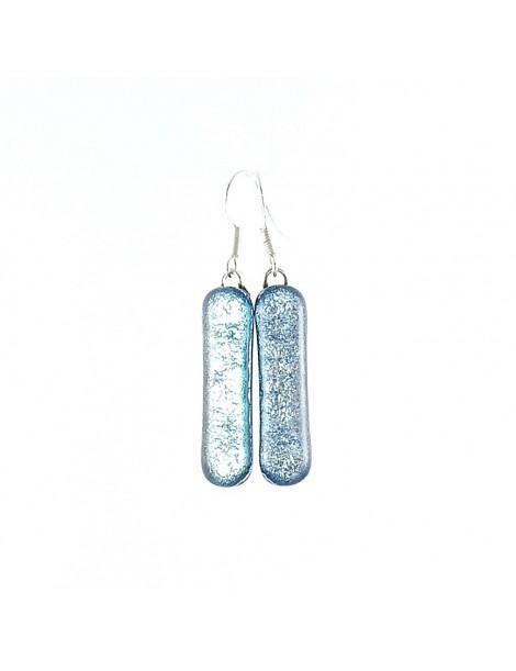 Boucle d'oreille en verre dichroique Argent bleuté