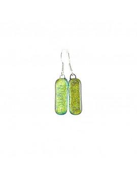 Boucles d'oreilles Jaune artisanales en verre dichroïque