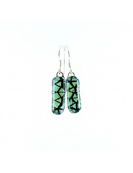 Boucles d'oreilles Vitraux Vert artisanales en verre dichroïque