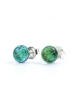 Puces d'oreilles Vert véronèse artisanales en verre dichroïque