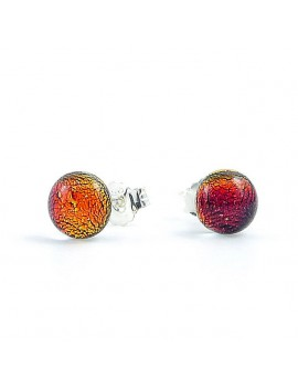 Puces d'oreilles Framboise artisanales en verre dichroïque