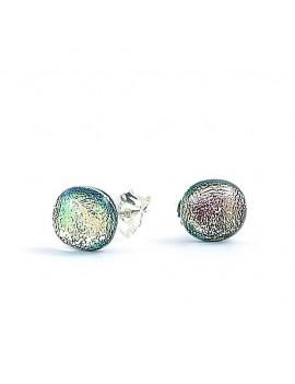 Puces d'oreilles Rose claire artisanales en verre dichroïque