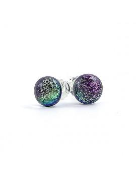 Puces d'oreilles Mauve artisanales en verre dichroïque