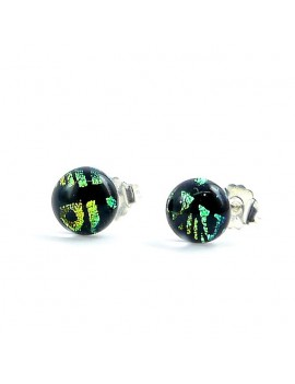 Puces d'oreilles Artista bleu-vert artisanales en verre dichroïque