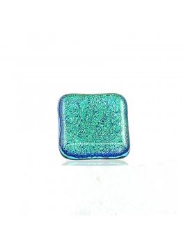 Bague softy Vert véronèse artisanale en verre dichroïque
