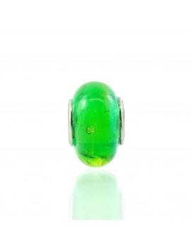 Charm vert transparent artisanal en verre de Murano