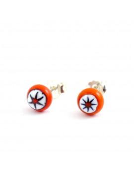 Puces d'oreilles Coeur d'orange artisanales en verre de Murano