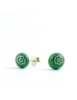 Puces d'oreilles Green Power artisanales en verre de Murano