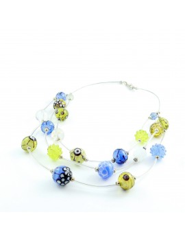 Collier en verre de Murano Vert olive Bleu ciel