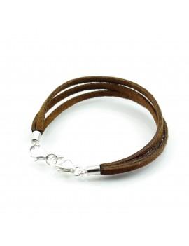 Bracelet multi-brins en cuir Suédine et Argent 925