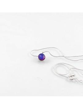 Collier Lighty Framboise artisanal en verre dichroïque