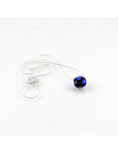 Collier Lighty Pois bleu artisanal en verre dichroïque
