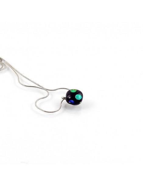 Collier Lighty Pois verts artisanal en verre dichroïque