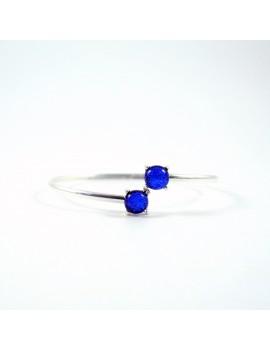 Bracelet Jonc Bleu Roi artisanal en verre dichroïque