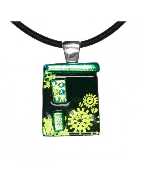 Collier Mil'Shake Vert artisanal en verre dichroïque