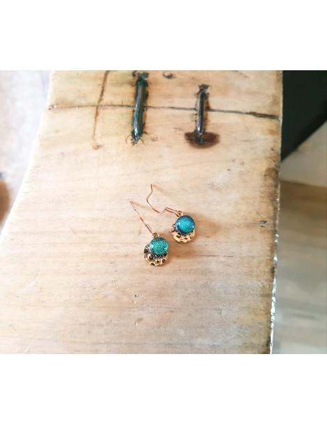 Boucles d'oreilles Vert Véronèse en verre et acier inoxydable rose