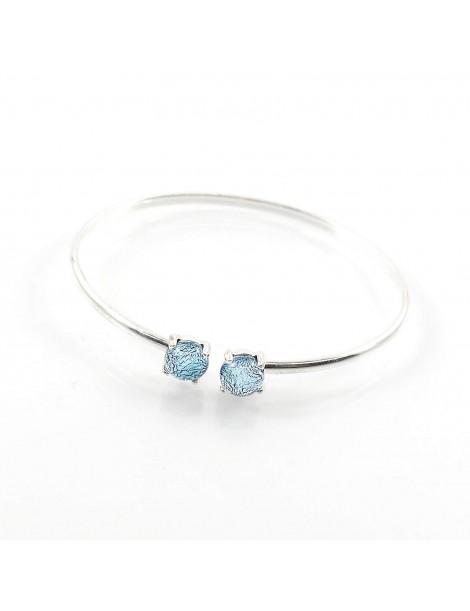 Bracelet Jonc Argent bleuté artisanal en verre dichroïque
