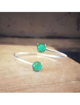 Bracelet Jonc Vert Véronèse artisanal en verre
