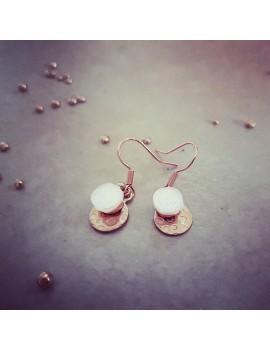 Boucles d'oreilles Diamant en verre et acier inoxydable rose