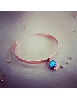 Bracelet Bleu Azur en verre et acier inoxydable rose