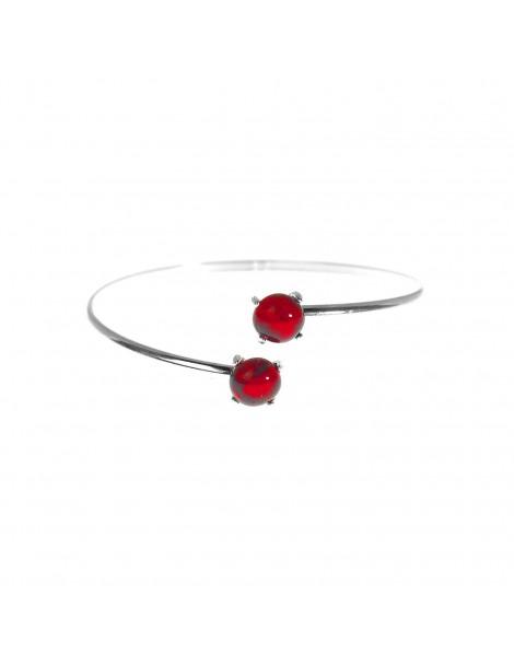 Bracelet Jonc Rouge Rubis artisanal en verre
