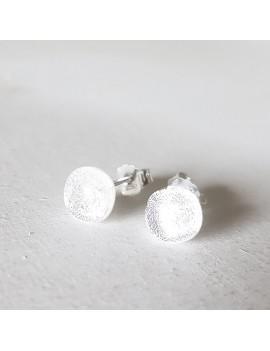 Puces d'oreilles blanc diamant artisanales en verre