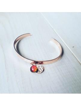 Bracelet Rouge en verre et acier inoxydable rose