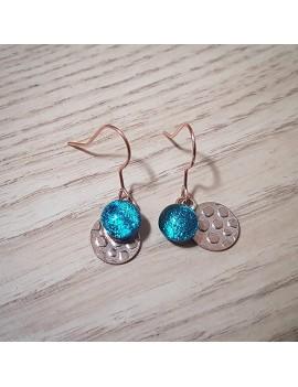 Boucles d'oreilles Bleu Cobalt en verre et acier inoxydable rose