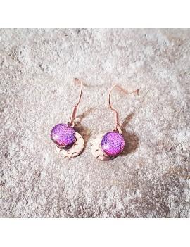 Boucles d'oreilles Fuschia en verre et acier inoxydable rose
