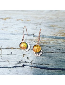 Boucles d'oreilles Orange en verre et acier inoxydable rose