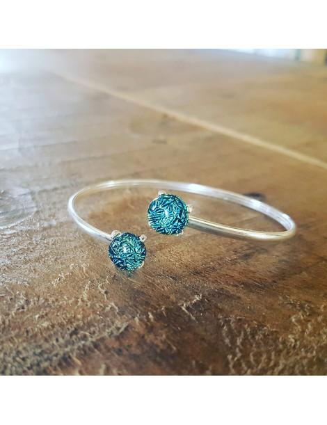 Bracelet Jonc Turquoise cristallisée artisanal en verre