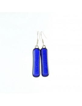 Boucle d'oreille en verre dichroique Bleu roi