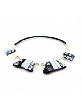 Collier exception Noir et Blanc en verre dichroïque artisanal