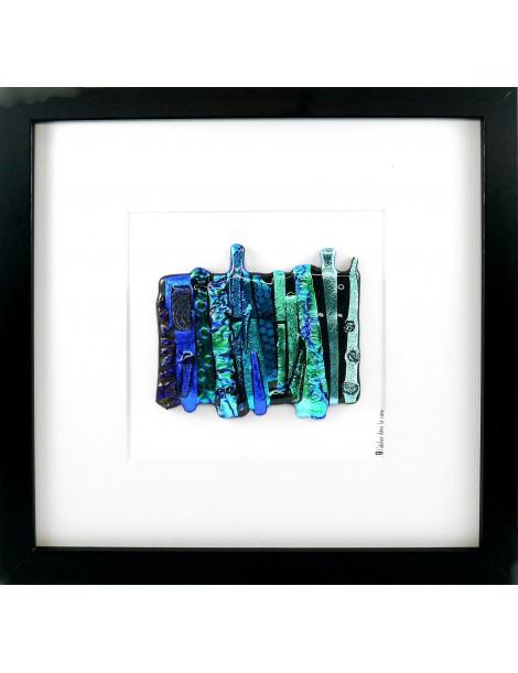Tableau Bleu artisanal en verre dichroïque