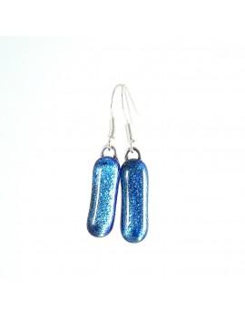 Boucle d'oreille en verre dichroique Bleu azur