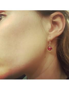 Boucles d'oreilles Rouge Rubis en verre et acier inoxydable rose