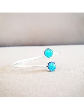 Bracelet Jonc 'Bleu Azur' artisanal en verre