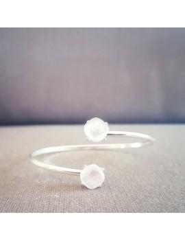 Bracelet Jonc Blanc Diamant artisanal en verre dichroïque