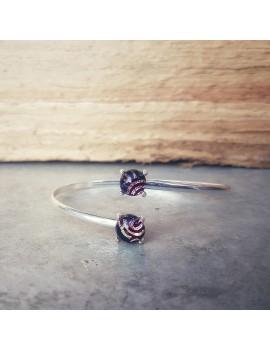 Bracelet Jonc Spirale Rose artisanal en verre
