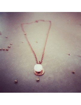 Collier Blanc Diamant en verre et acier inoxydable rose