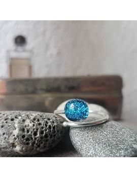 Bague bleue cristallisé en Argent 925
