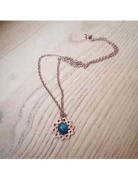Collier Bleu Cobalt en verre et acier inoxydable rose