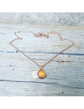 Collier Orange en verre et acier inoxydable rose