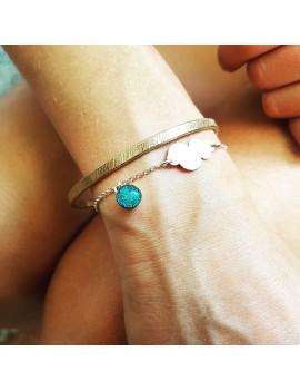 Bracelet Nuage en verre Bleu Cobalt et argent 925