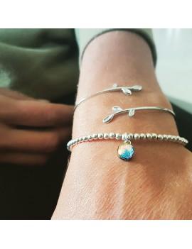 Bracelet Perles Argent Bleu Orange artisanal en verre